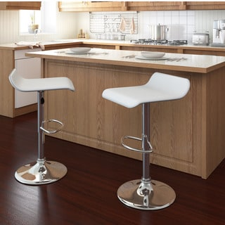Curved Adjustable Leatherette Bar Stool (Set of 2)