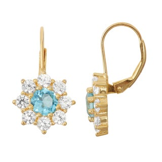 Gioelli Goldplated Silver Swiss Blue Topaz and White Sapphire Floral Leverback Earrings