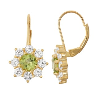 Gioelli Goldplated Silver Peridot and White Sapphire Floral Leverback Earrings