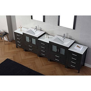 Virtu USA Dior 110-inch Ceramic Top Double Bathroom Vanity Set with Faucets