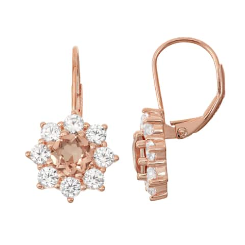 Gioelli Rose Goldplated Silver, Quartz and Created White Sapphire Floral Leverback Earrings