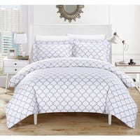 Chic Home Finlay Grey 9-Piece Bed in a Bag Duvet Cover with Sheet Set