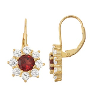 Gioelli Goldplated Silver Garnet and White Sapphire Floral Leverback Earrings