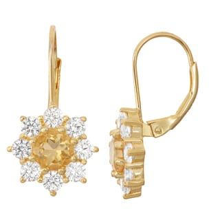 Gioelli Goldplated Silver Citrine and White Sapphire Floral Leverback Earrings