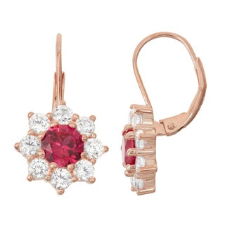Gioelli Rose Goldplated Silver Ruby and White Sapphire Floral Leverback Earrings