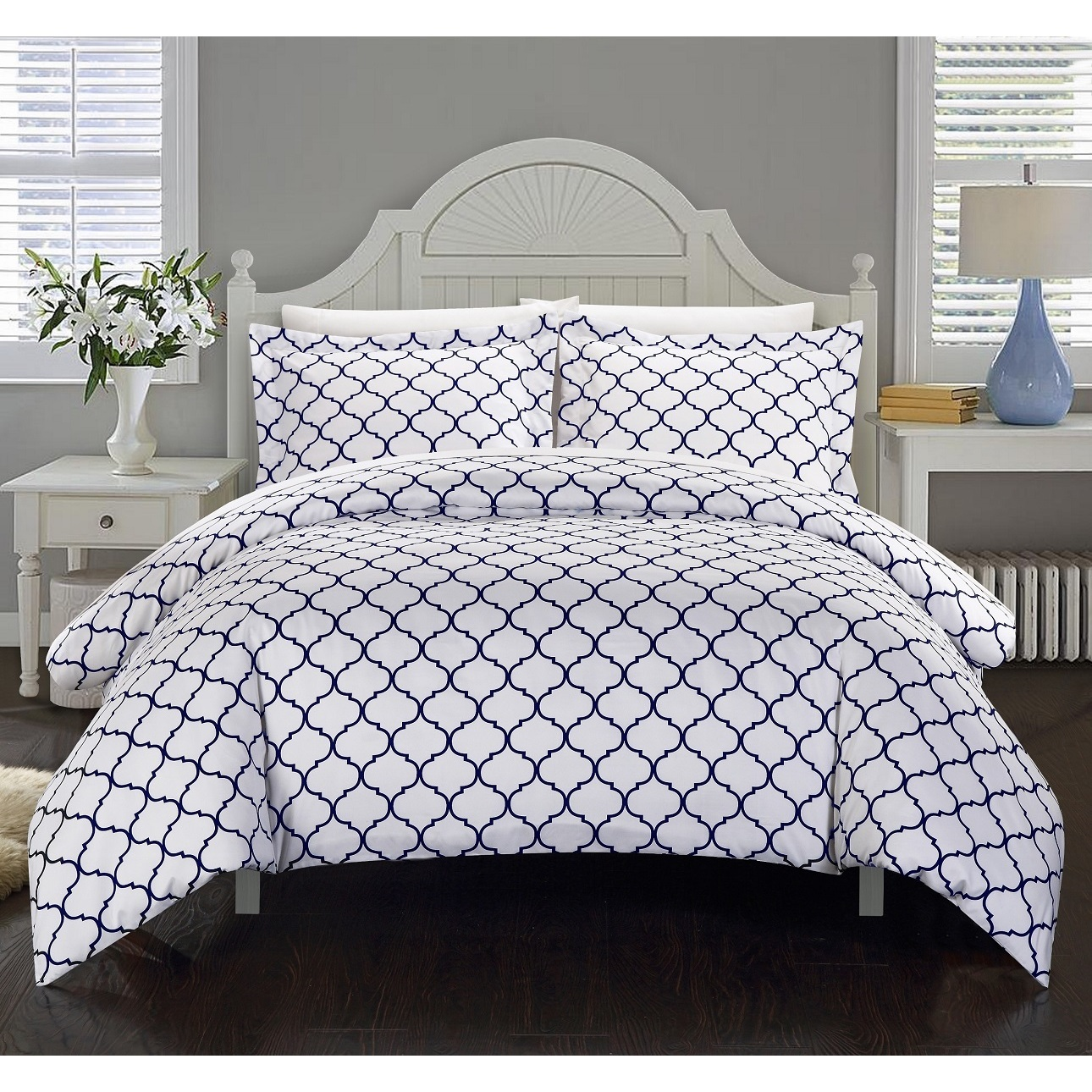 Chic Home Finlay Navy 9-Piece Bed in a Bag Duvet Cover with Sheet Set
