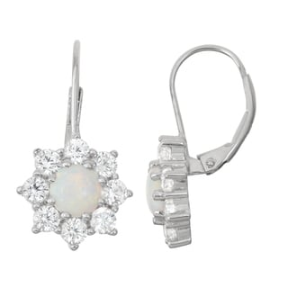 Gioelli Sterling Silver Opal and White Sapphire Floral Leverback Earrings