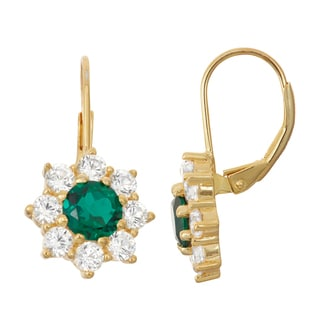 Gioelli Goldplated Silver Emerald and White Sapphire Floral Leverback Earrings