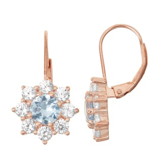 Gioelli Rose Goldplated Silver Aqua and White Sapphire Floral Leverback Earrings