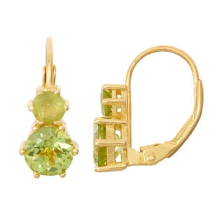 Gioelli Goldplated Silver Peridot Leverback Earrings