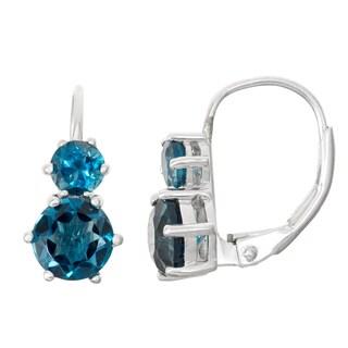 Gioelli Sterling Silver London Blue Topaz Leverback Earrings