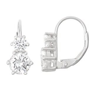 Gioelli Sterling Silver White Sapphire Leverback Earrings