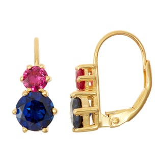 Gioelli Goldplated Silver Sapphire and Ruby Leverback Earrings