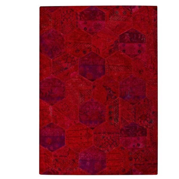 M.A.Trading Hand-tufted Indo Honey Comb Red Rug (7'10 x 9'10)
