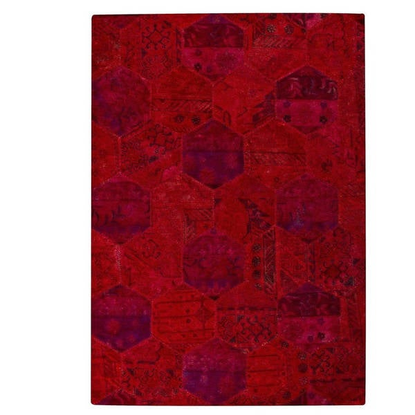 Hand-tufted Indo Honey Comb Red Rug (7'10 x 9'10)