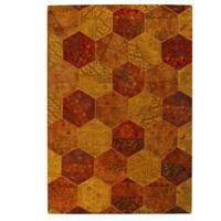 Handmade Indo Honey Comb Orange Rug - 7'10 x 9'10 (India)