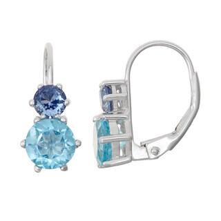 Gioelli Sterling Silver Swiss Blue Topaz and SapphireLeverback Earrings