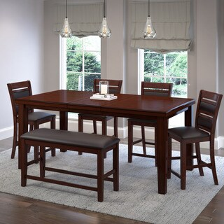 Warm Brown Wood and Chocolate Bonded Leather Extendable Counter Height 6-piece Dining Set