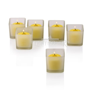 White Frosted Square Votive Candle Holders with Citronella Yellow Votive Candles Burn 10 Hours Set O