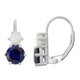Gioelli Sterling Silver Sapphire and Opal Leverback Earrings