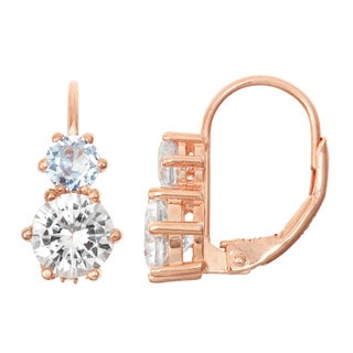 Gioelli Rose Goldplated Silver White and Aquamarine Leverback Earrings