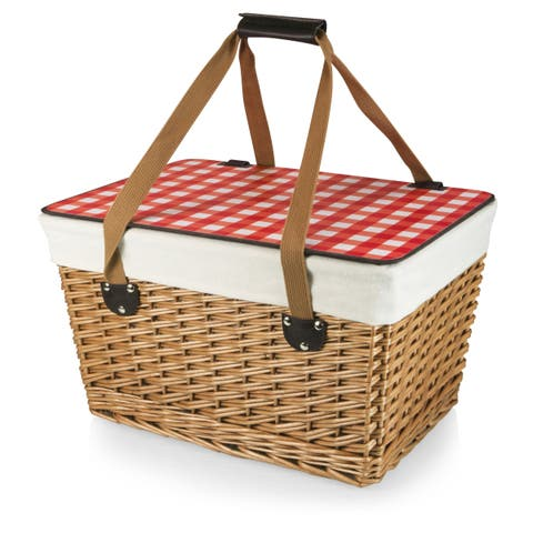Picnic Time Canasta Grande Natural Willow and Red Checkered Flat Lid Basket