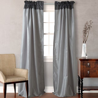 Heritage Landing Faux Silk Colorblock Gray Curtain Panel Pair