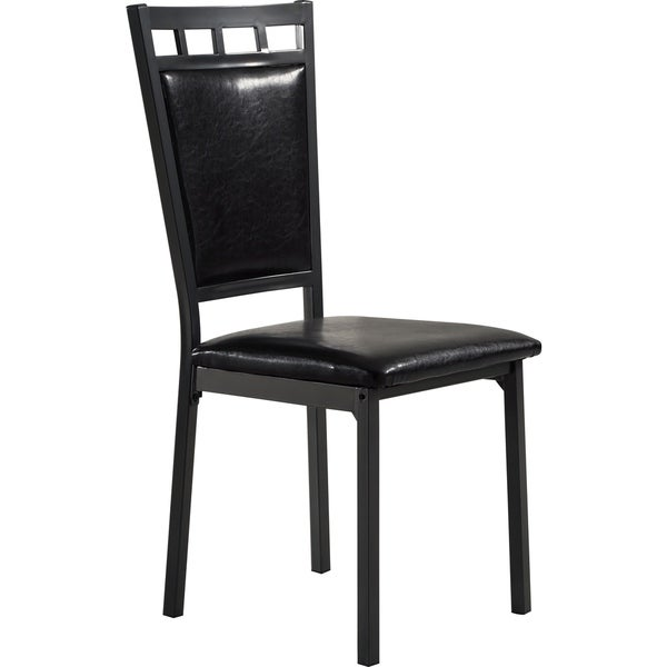 black metal and upholstered dining chair free shipping today 18534280. Black Bedroom Furniture Sets. Home Design Ideas