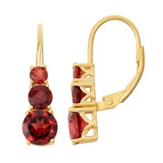Gioelli Goldplated Silver Garnet Leverback Earrings