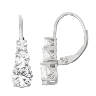 Gioelli Sterling Silver White Sapphire Leverback Earrings