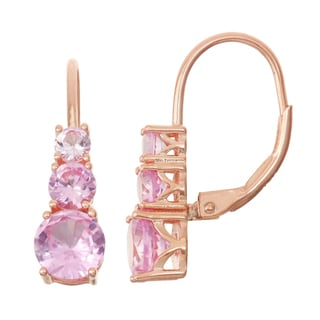 Gioelli Rose Goldplated Silver Pink Sapphire Leverback Earrings