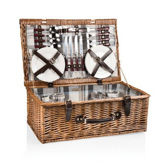 Picnic Time Newbury Navy Blue and Maroon Plaid Picnic Basket