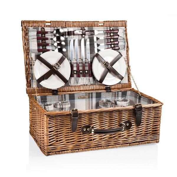 Picnic Time Newbury Navy Blue and Maroon Plaid Picnic Basket