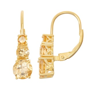 Gioelli Goldplated Silver Citrine Leverback Earrings