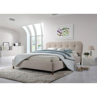 Baxton Studio Gennadios Mid-century Modern Beige Mix Linen Fabric King Size Grid-tufting Platform Bed