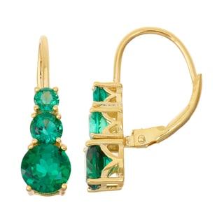 Gioelli Goldplated Silver Emerald Leverback Earrings