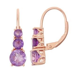 Gioelli Rose Goldplated Silver Amethyst Leverback Earrings