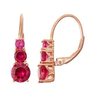 Gioelli Rose Goldplated Silver Ruby Leverback Earrings