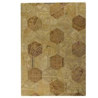 Handmade Indo Honey Comb Light Beige Rug - 7'10 x 9'10 (India)