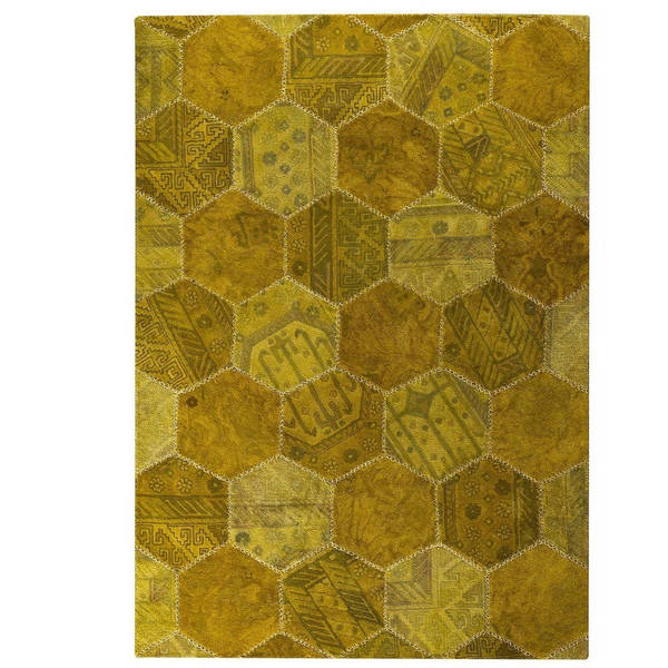 Handmade Indo Honey Comb Gold Rug - 7'10 x 9'10 (India)