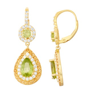 Gioelli Goldplated Peridot, Citrine and White Sapphire Double Halo Earrings