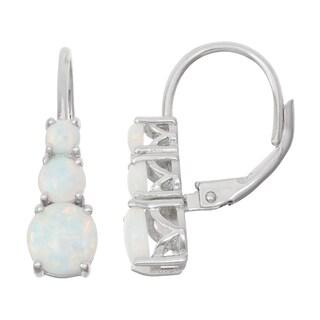 Gioelli Sterling Silver Opal Leverback Earrings