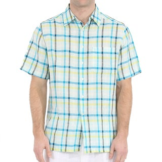 Men's Short Sleeve Plaid Linen Shirt