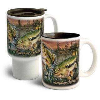 American Expedition Collage Home&Away Stoneware Mug Set