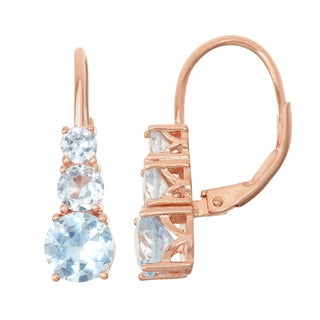 Gioelli Rose Goldplated Silver Aqua Leverback Earrings
