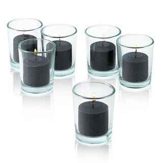 Round Clear Glass Votive Candle Holders with Black Votive Candles Burn 10 Hours Set Of 12