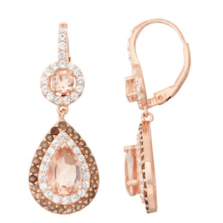 Gioelli Rose Goldplated Morganite Quartz, Smoky Quartz and White Sapphire Double Halo Earrings