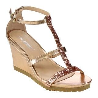 VIA PINKY AISLINN-02 Women's Lug Sole Wedges Dress Sandals Run Half Size Big