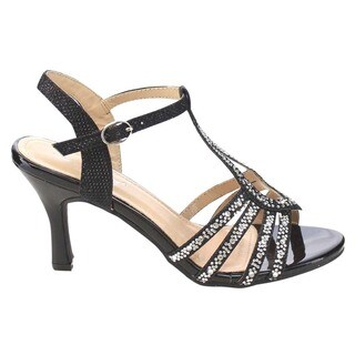 VIA PINKY Women's CLAUDIA-93 Rhinestone Cut Out Heels