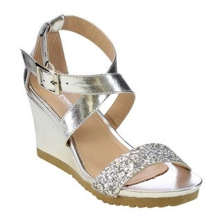 VIA PINKY AISLINN-03 Women Glitter Buckle Strap Wedges Sandals